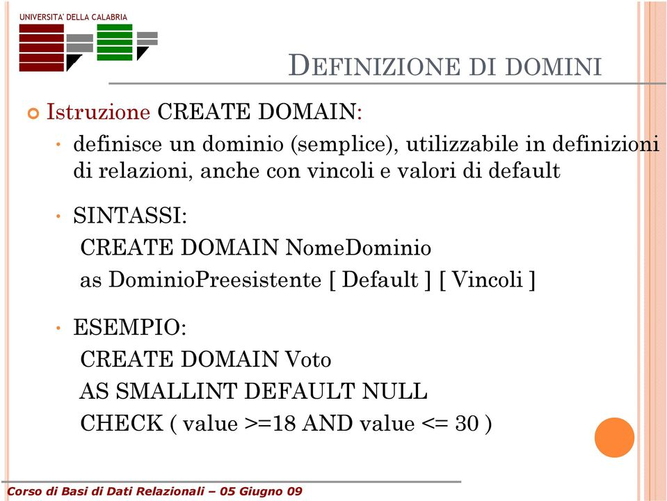 SINTASSI: CREATE DOMAIN NomeDominio as DominioPreesistente [ Default ] [ Vincoli ]