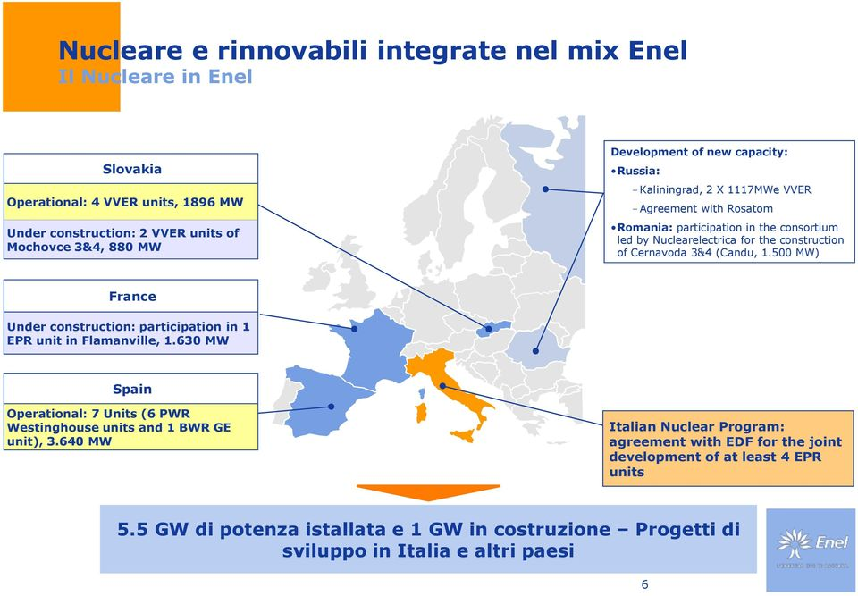 (Candu, 1.500 MW) France Under construction: participation in 1 EPR unit in Flamanville, 1.630 MW Spain Operational: 7 Units (6 PWR Westinghouse units and 1 BWR GE unit), 3.