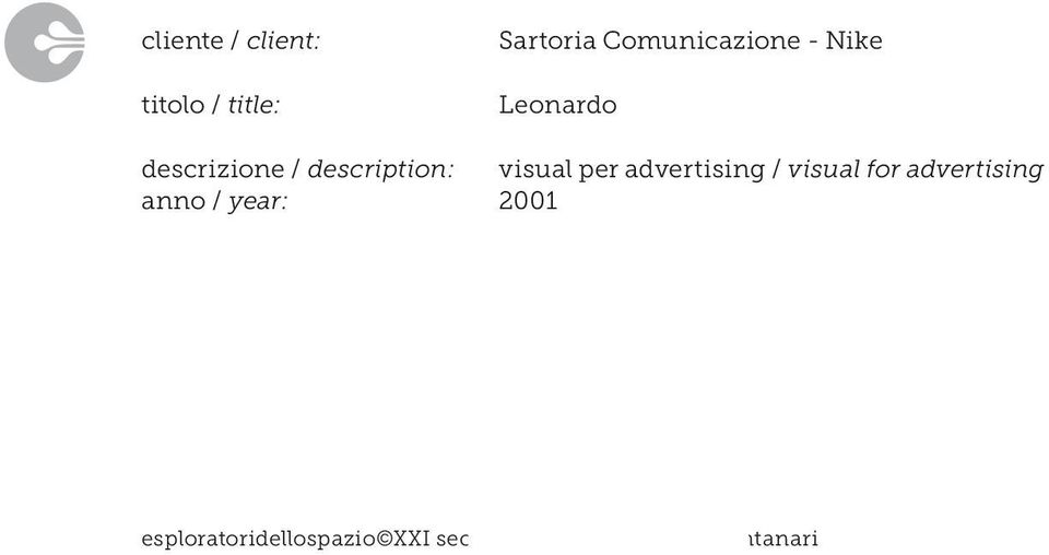 Leonardo visual per advertising / visual for advertising