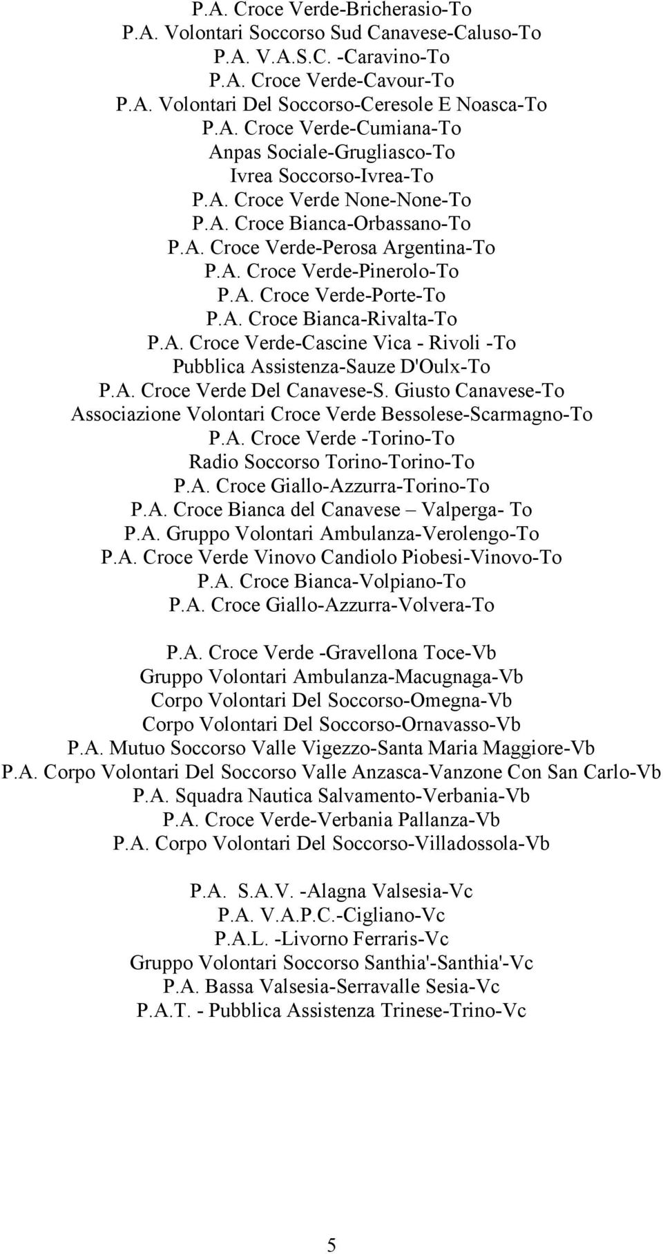 A. Croce Verde Del Canavese-S. Giusto Canavese-To Associazione Volontari Croce Verde Bessolese-Scarmagno-To P.A. Croce Verde -Torino-To Radio Soccorso Torino-Torino-To P.A. Croce Giallo-Azzurra-Torino-To P.