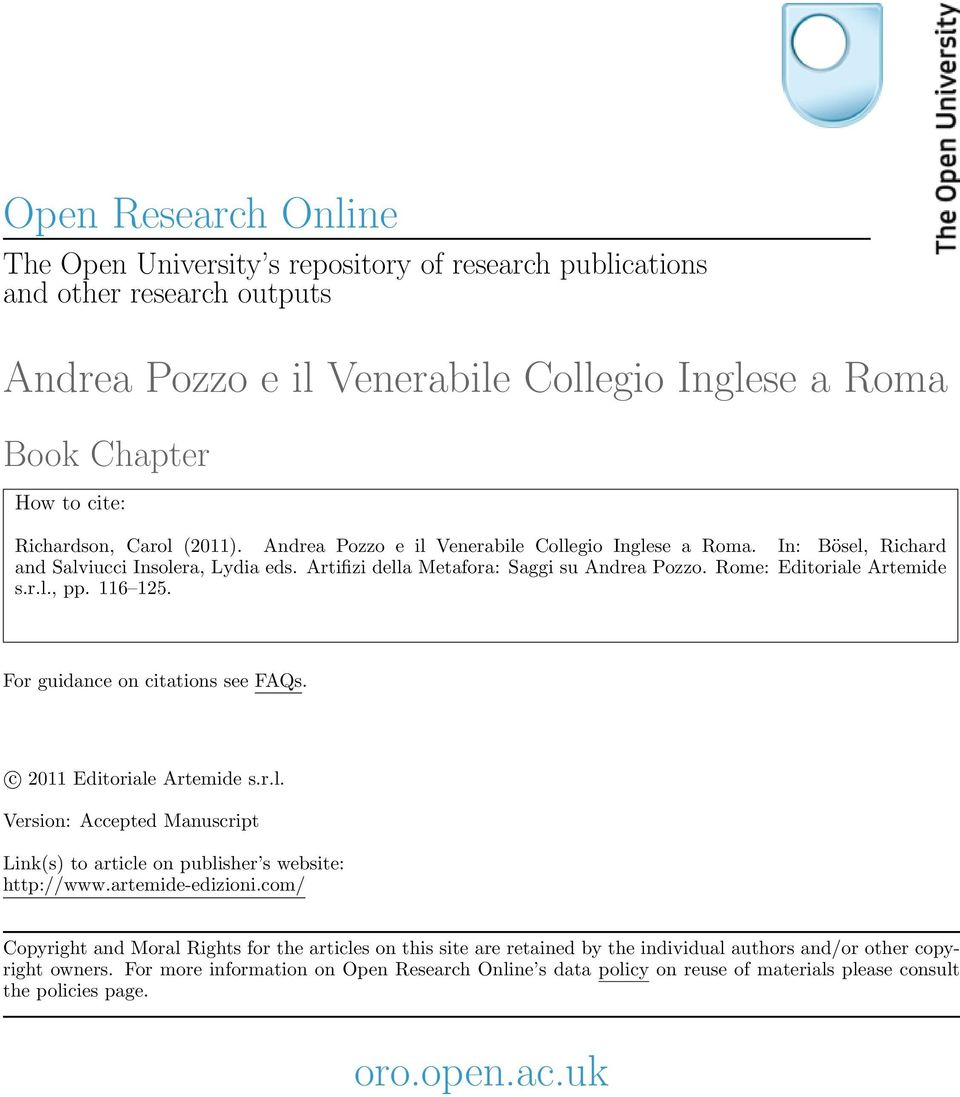 116 125. For guidance on citations see FAQs. c 2011 Editoriale Artemide s.r.l. Version: Accepted Manuscript Link(s) to article on publisher s website: http://www.artemide-edizioni.