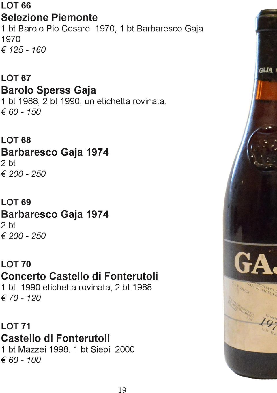 60-150 LOT 68 Barbaresco Gaja 1974 2 bt 200-250 LOT 69 Barbaresco Gaja 1974 2 bt 200-250 LOT 70