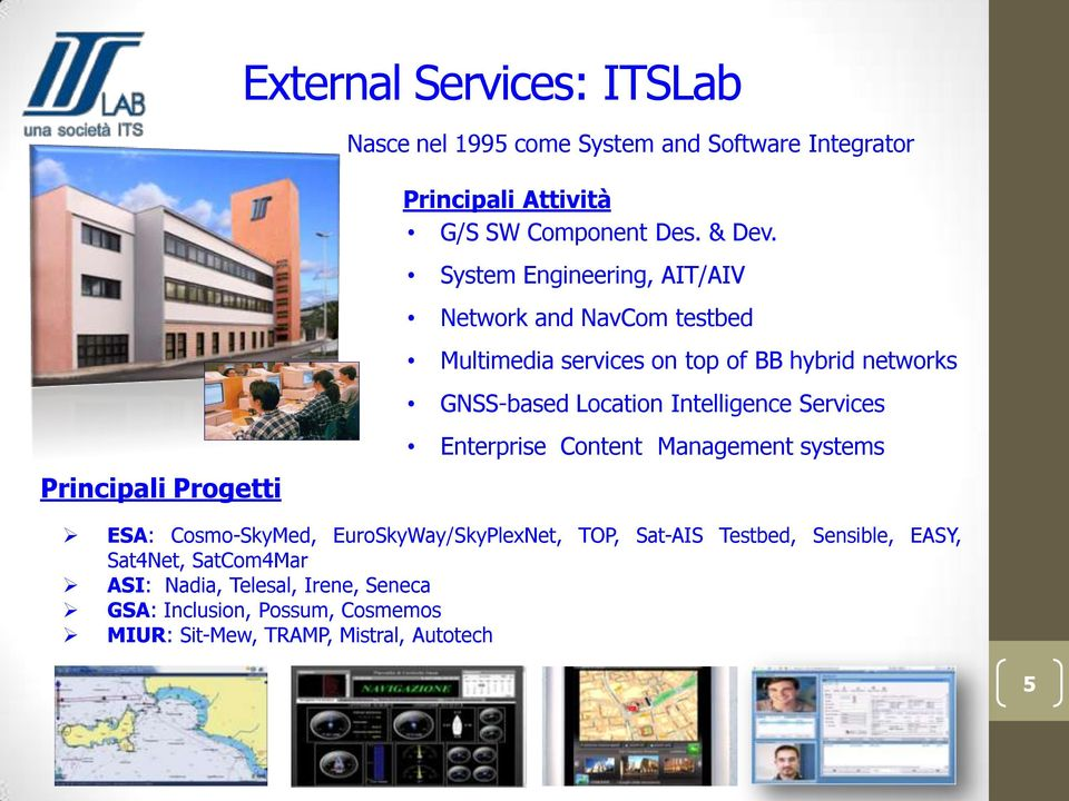 System Engineering, AIT/AIV Network and NavCom testbed Multimedia services on top of BB hybrid networks GNSS-based Location