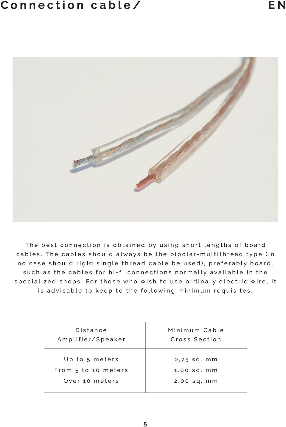 the cables for hi-fi connections normally available in the specialized shops.