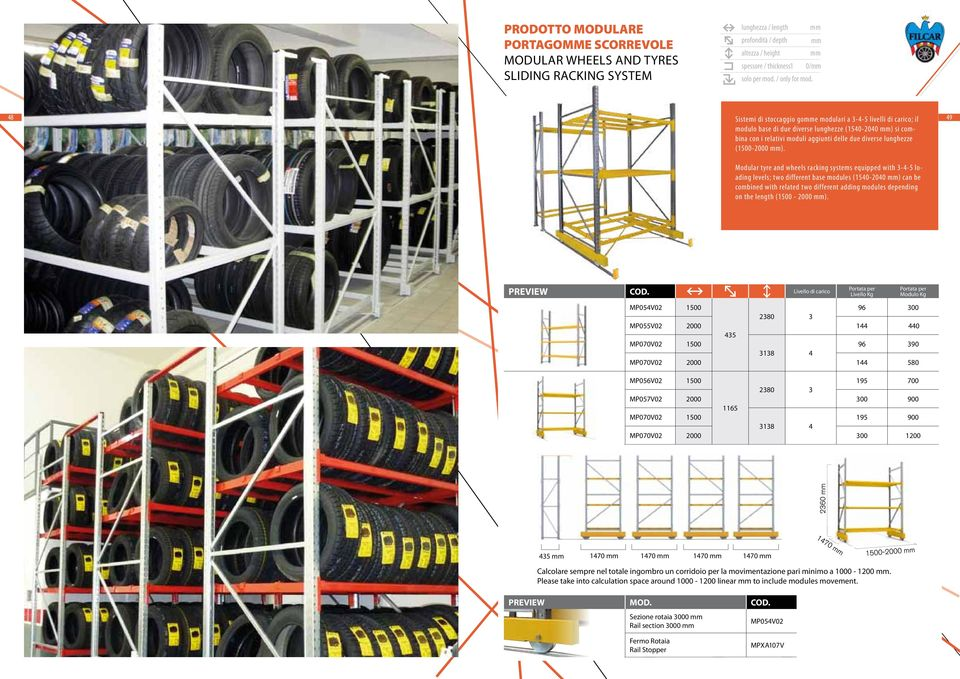 49 Modular tyre and wheels racking systems equipped with 3-4-5 loading levels; two different base modules (1540-2040 ) can be combined with related two different adding modules depending on the