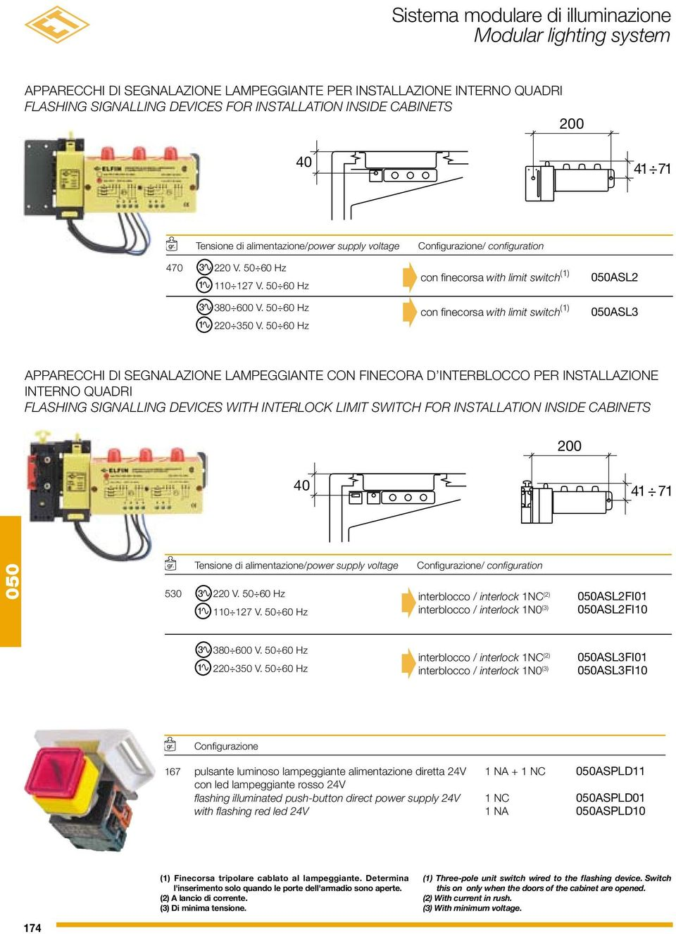 0 0 Hz Configurazione/ configuration con finecorsa with limit switch () con finecorsa with limit switch () AS AS APPARECCHI DI SEGNAAZIONE AMPEGGIANTE CON FINECORA D INTERBOCCO PER INSTAAZIONE