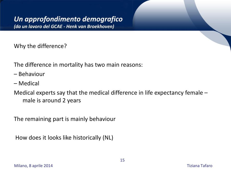 The difference in mortality has two main reasons: Behaviour Medical Medical experts
