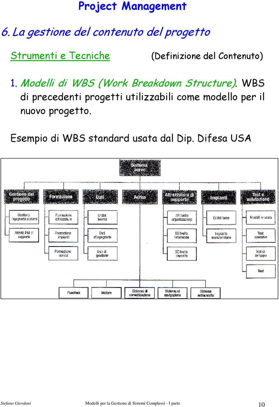 Modelli di WBS (Work Breakdown Structure).