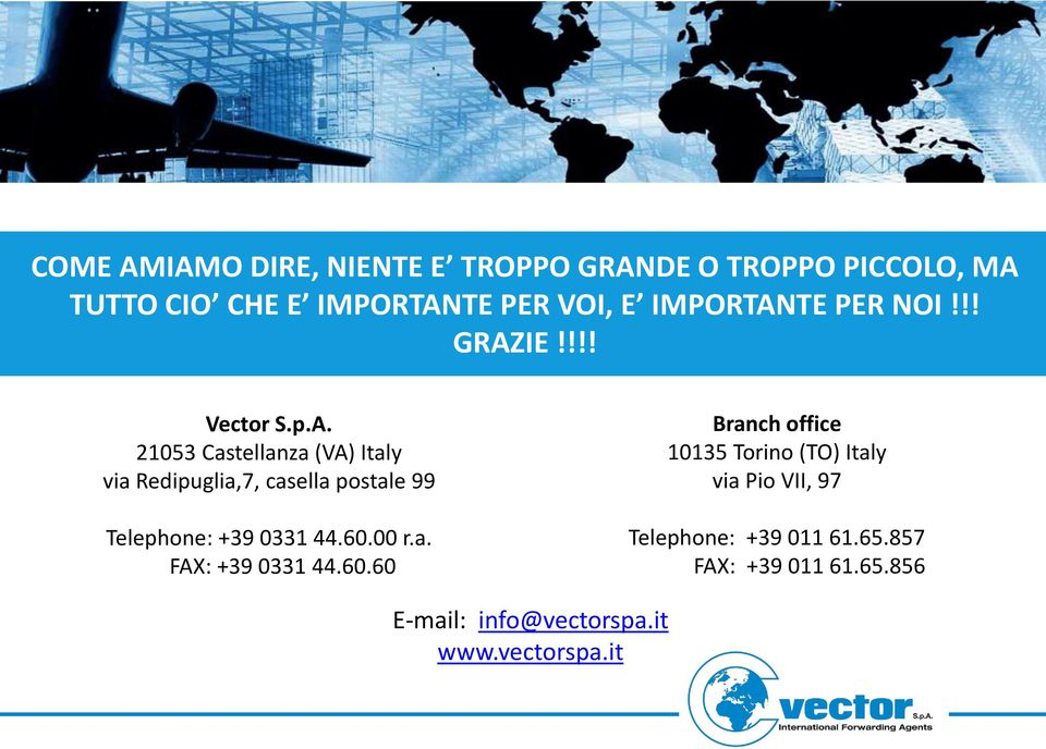 60.00 r.a. FAX: +39 0331 44.60.60 Branch office 10135 Torino (TO) Italy via Pio VII, 97 Telephone: +39 011 61.