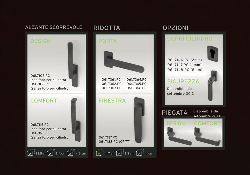 PC (2mm) 061.7147.PC (4mm) 061.7148.PC (6mm) SICUREZZA Disponibile da settembre 2013 PIEGATA Disponibile da settembre 2013 061.