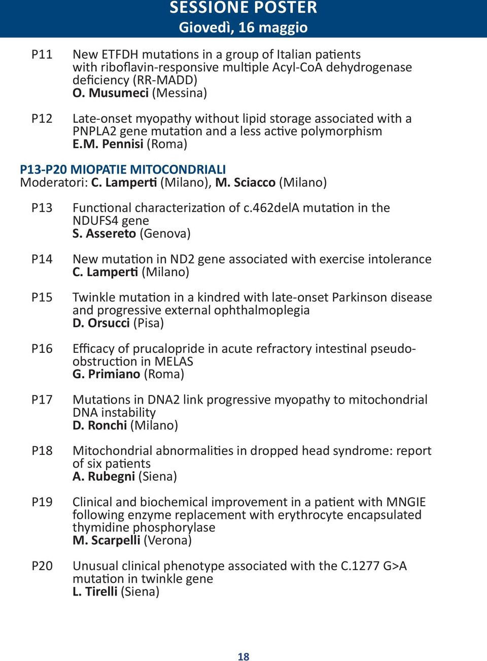 Lamperti (Milano), M. Sciacco (Milano) P13 P14 P15 P16 P17 P18 P19 P20 Functional characterization of c.462dela mutation in the NDUFS4 gene S.