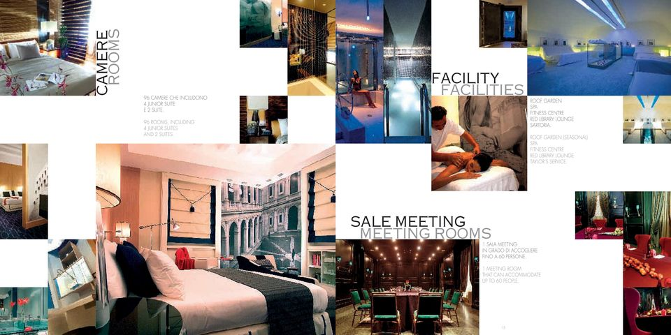 facility facilities Roof garden Spa Fitness centre Red Library lounge Sartoria.