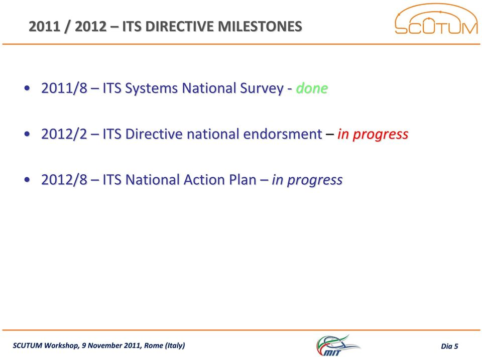 endorsment in progress 2012/8 ITS National Action Plan