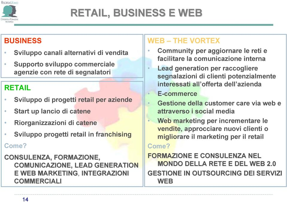 CONSULENZA, FORMAZIONE, COMUNICAZIONE, LEAD GENERATION E WEB MARKETING, INTEGRAZIONI COMMERCIALI WEB THE VORTEX Community per aggiornare le reti e facilitare la comunicazione interna Lead generation
