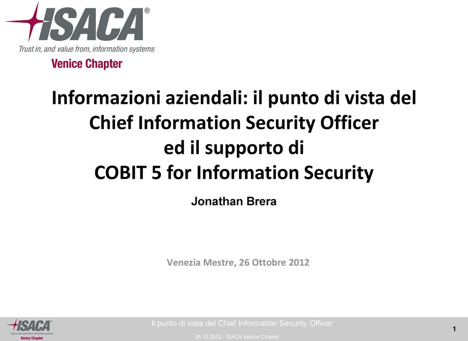 supporto di COBIT 5 for Information Security