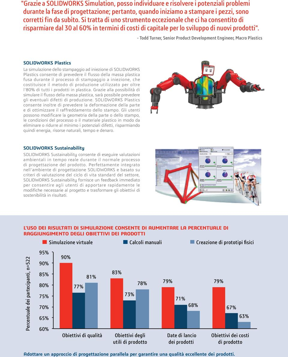- Todd Turner, Senior Product Development Engineer, Macro Plastics SOLIDWORKS Plastics La simulazione dello stampaggio ad iniezione di SOLIDWORKS Plastics consente di prevedere il flusso della massa