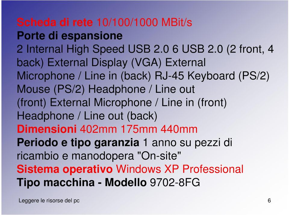Line out (front) External Microphone / Line in (front) Headphone / Line out (back) Dimensioni 402mm 175mm 440mm Periodo e tipo
