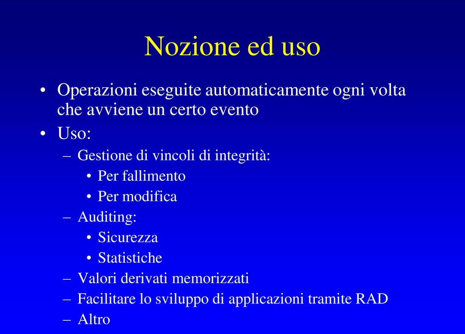 fallimento Per modifica Auditing: Sicurezza Statistiche Valori