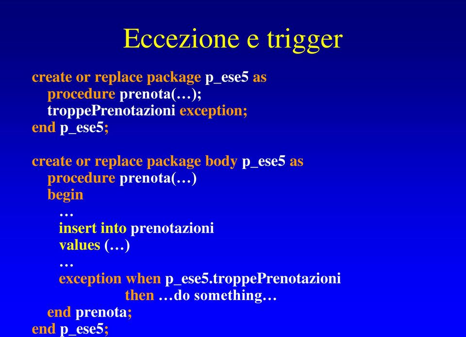 p_ese5 as procedure prenota( ) begin insert into prenotazioni values ( )