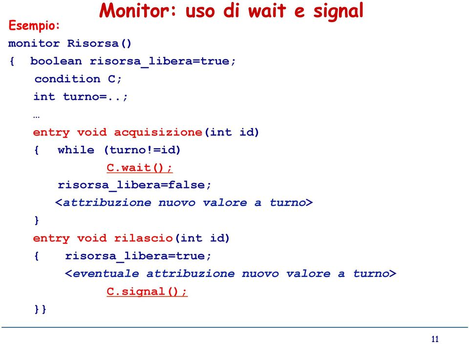 wait(); risorsa_libera=false; <attribuzione nuovo valore a turno> entry void