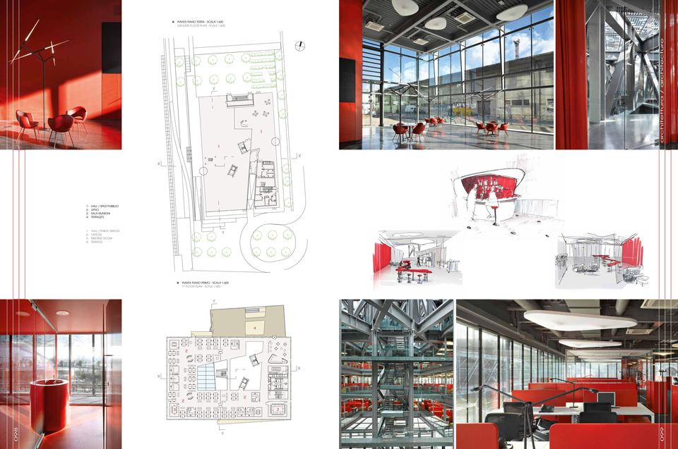SPACES 2- OFFICES 3- MEETING ROOM 4- TERRACE PIANTA PIANO PRIMO - SCALA