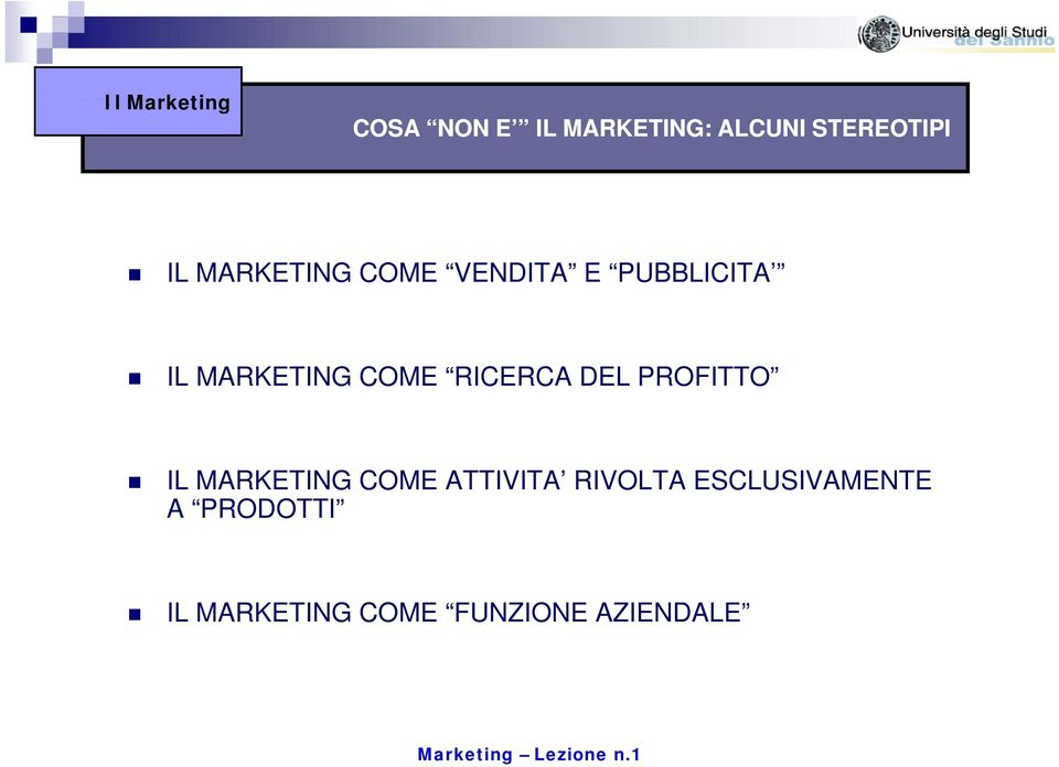 RICERCA DEL PROFITTO IL MARKETING COME ATTIVITA