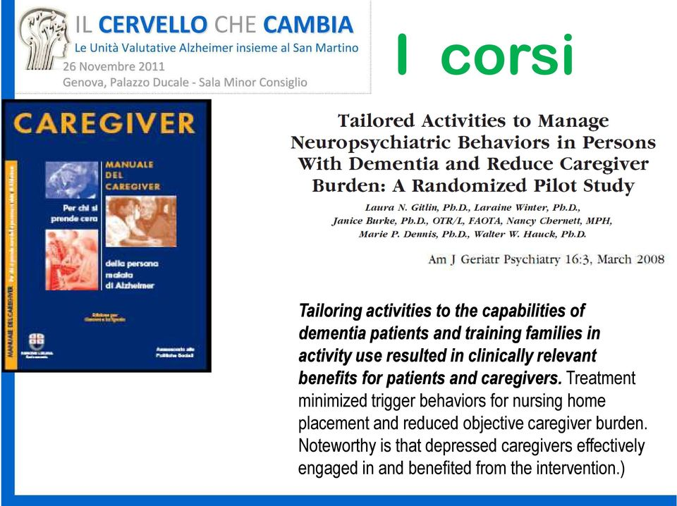 Treatment minimized trigger behaviors for nursing home placement and reduced objective