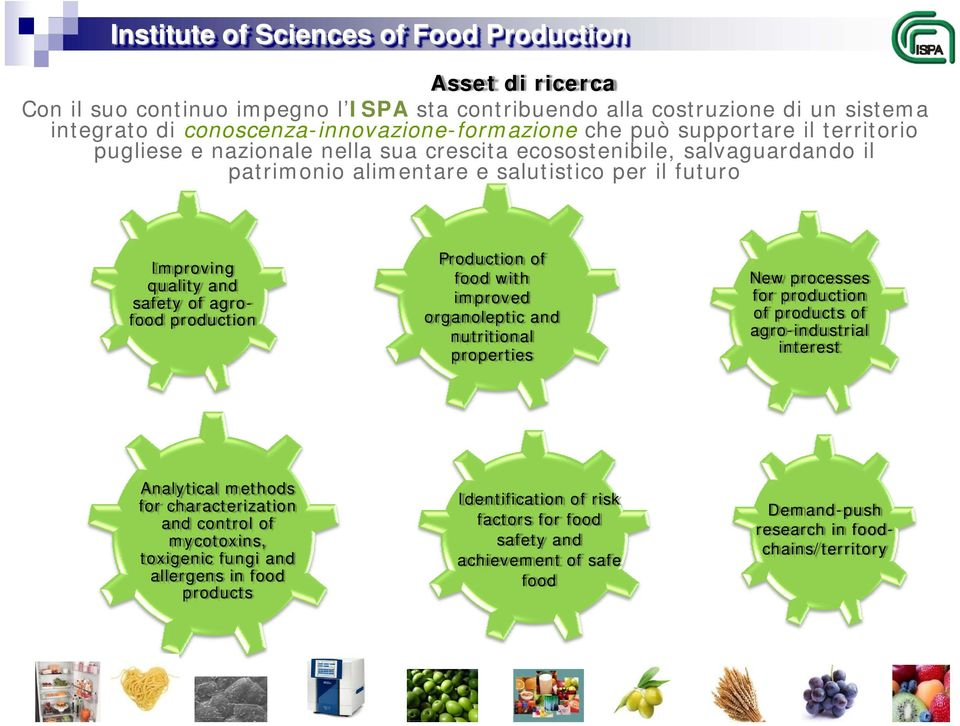Production of food with improved organoleptic and nutritional properties New processes for production of products of agro-industrial interest Analytical methods for characterization