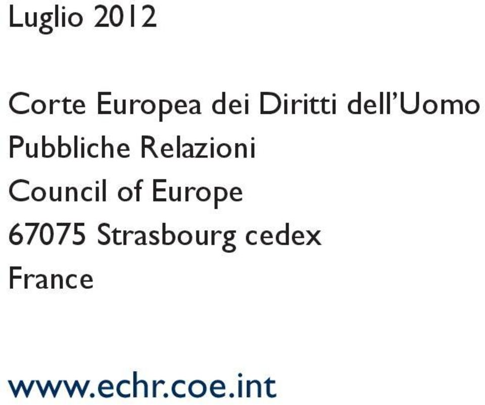Relazioni Council of Europe