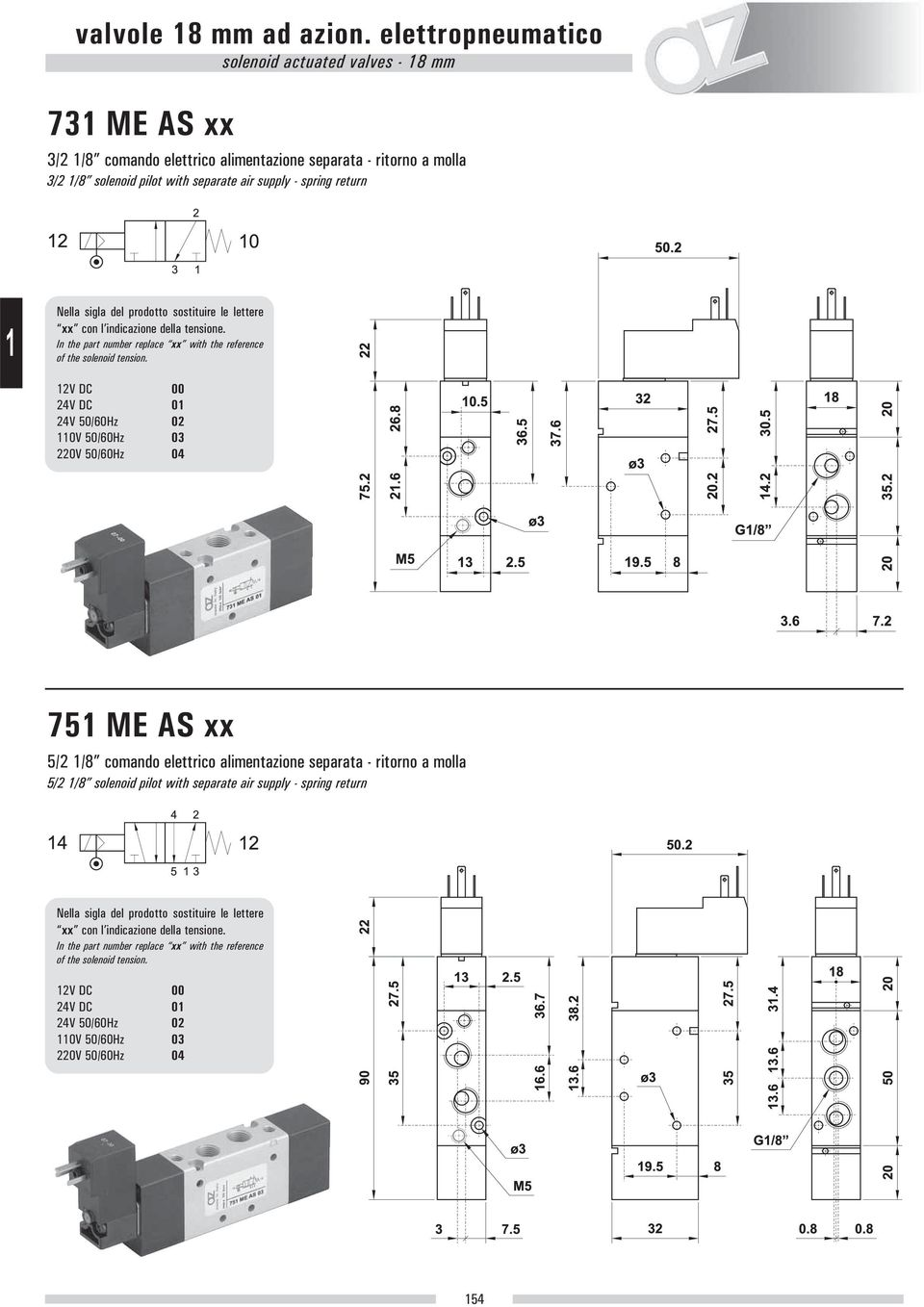 separata - ritorno a molla 3/2 /8 solenoid pilot with separate air supply - spring return 2V DC 00 24V DC