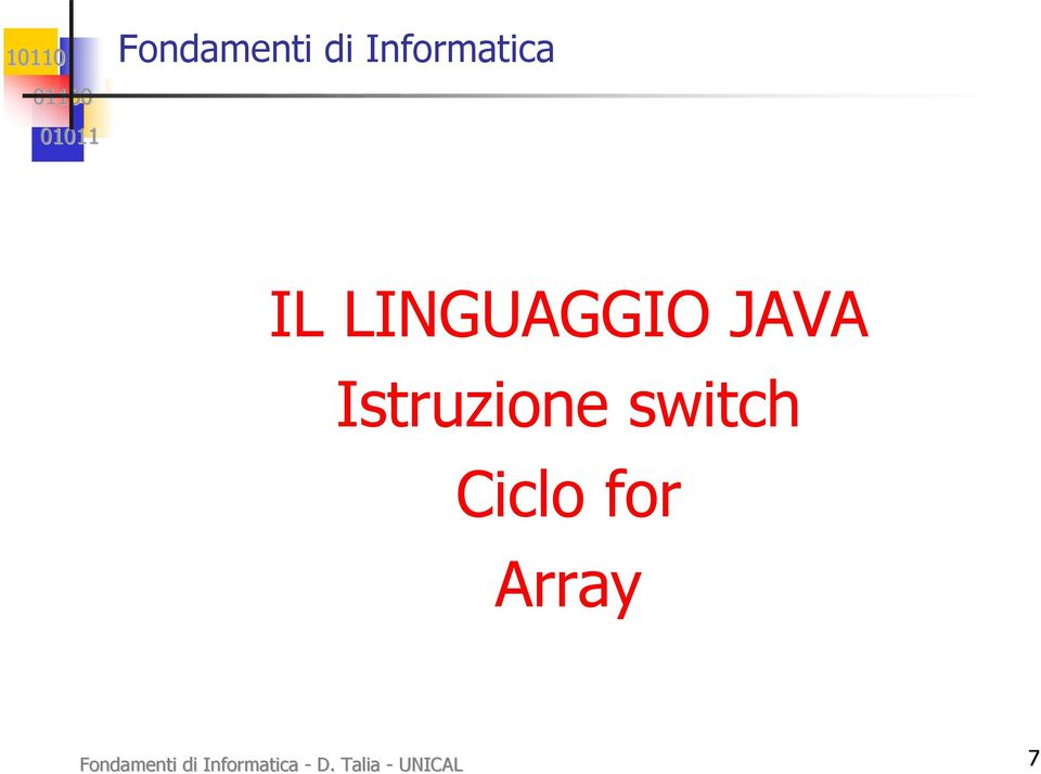 switch Ciclo for Array