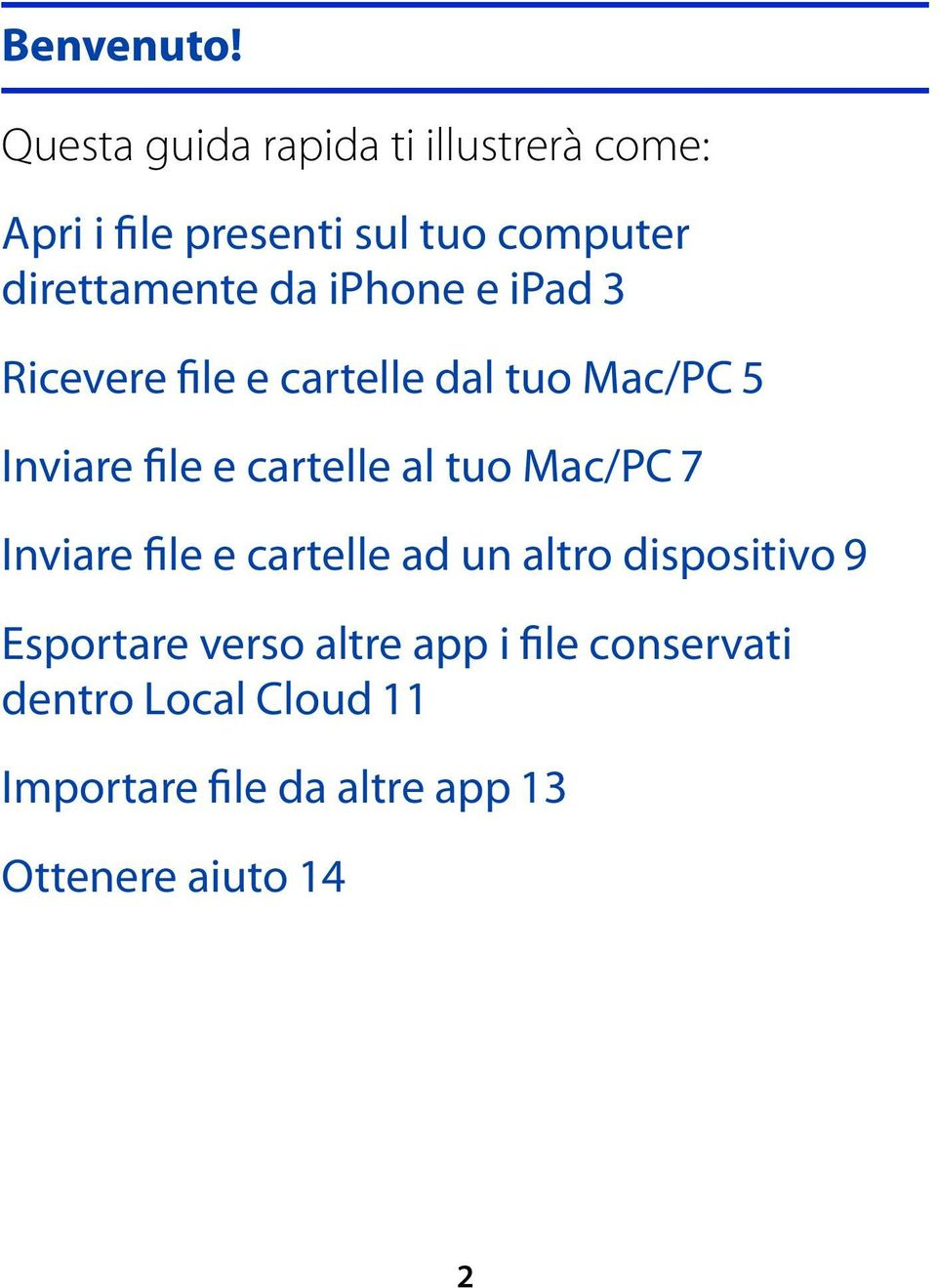 da iphone e ipad 3 Ricevere file e cartelle dal tuo Mac/PC 5 Inviare file e cartelle al tuo