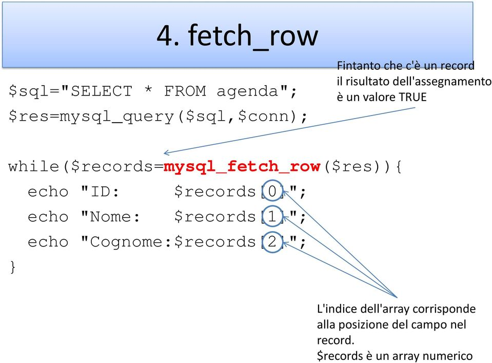 "while($records=mysql_fetch_row($res)){ echo ""ID: $records[0]""; echo ""Nome: $records[1]"";"