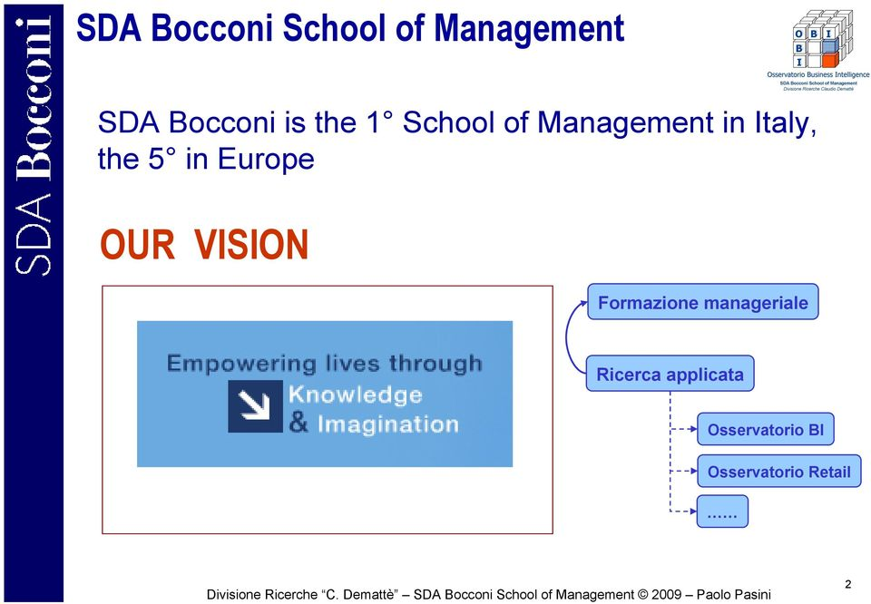 Europe OUR VISION Formazione manageriale