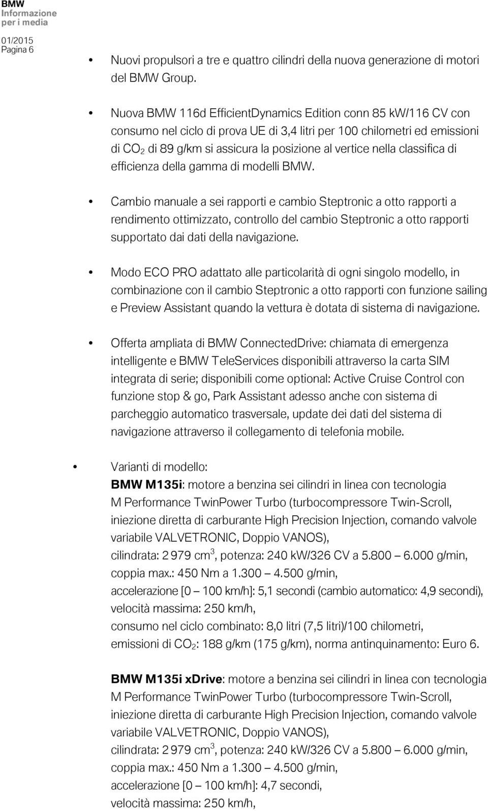 classifica di efficienza della gamma di modelli BMW.
