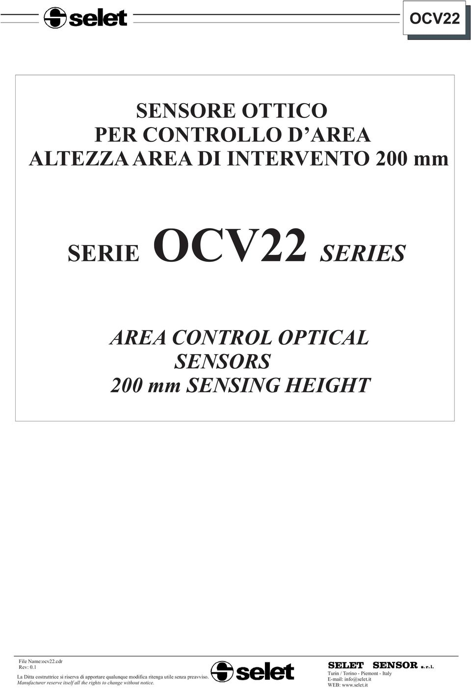 200 mm SERIE OCV22 SERIES AREA