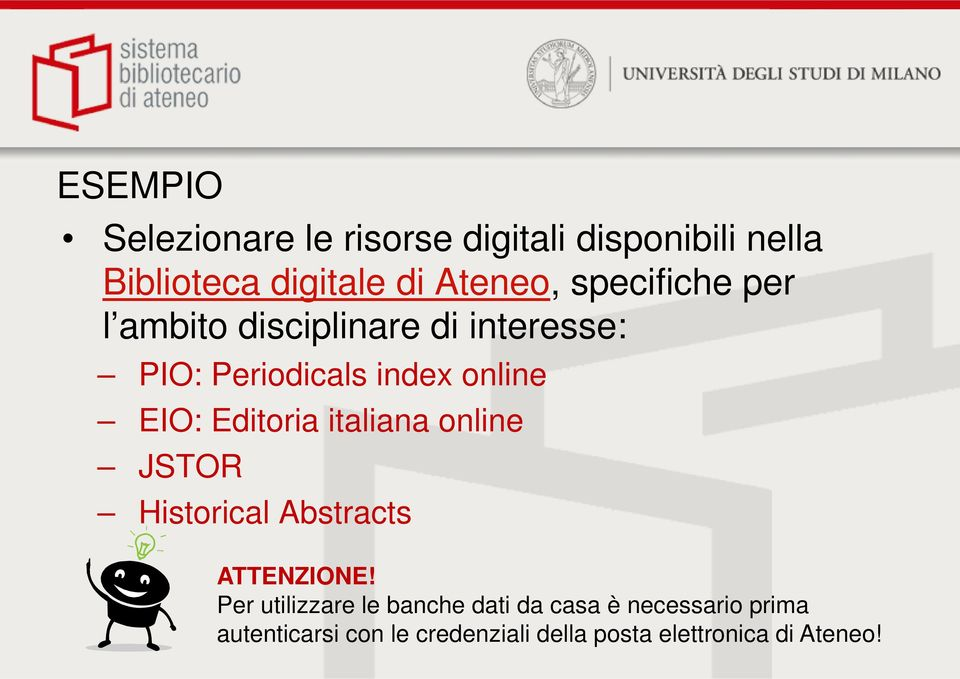Editoria italiana online JSTOR Historical Abstracts ATTENZIONE!