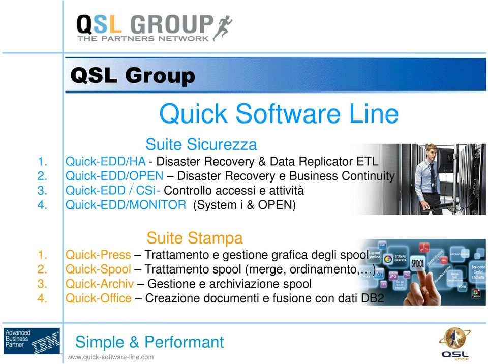 Quick-EDD/MONITOR (System i & OPEN) Suite Stampa 1. Quick-Press Trattamento e gestione grafica degli spool 2.