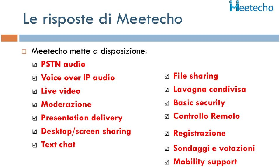 Desktop/screen sharing Text chat File sharing Lavagna condivisa Basic