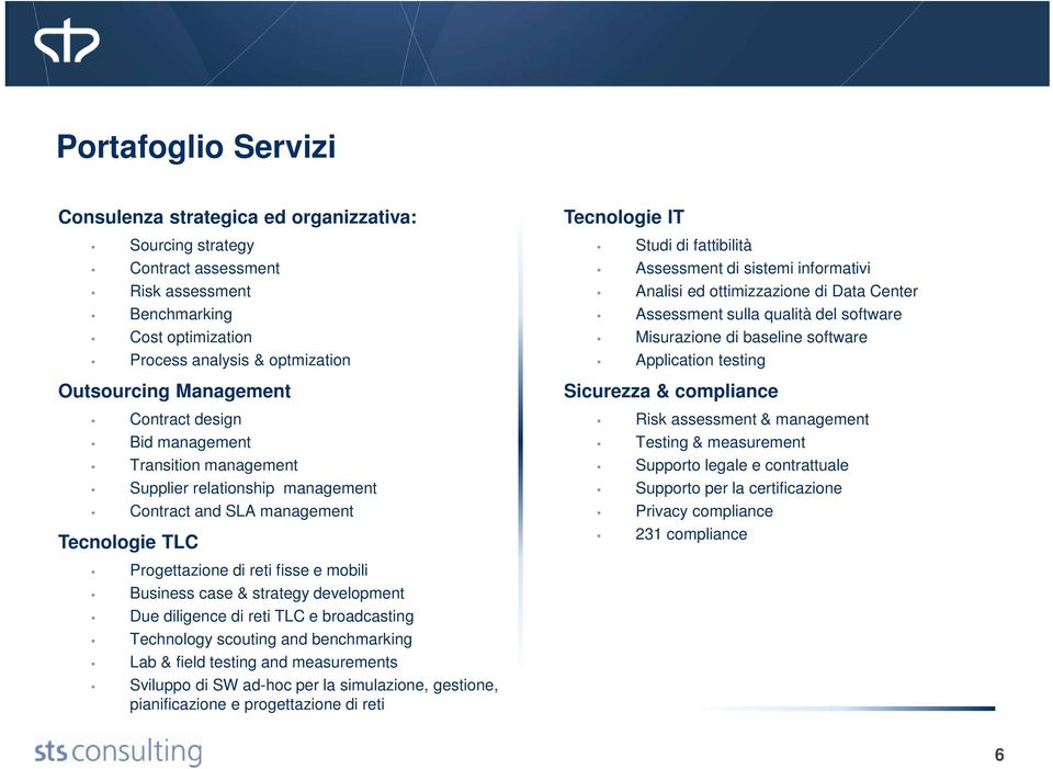 Management Sicurezza & compliance Contract design Bid management Transition management Supplier relationship management Contract and SLA management Tecnologie TLC Risk assessment & management Testing