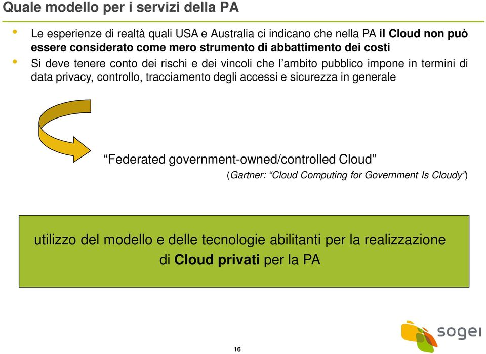 termini di data privacy, controllo, tracciamento degli accessi e sicurezza in generale Federated government-owned/controlled Cloud