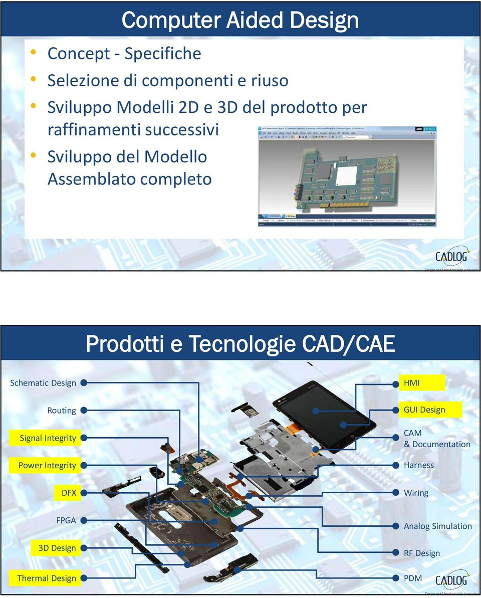 Tecnologie CAD/CAE Schematic Design Routing Signal Integrity Power Integrity HMI GUI Design CAM