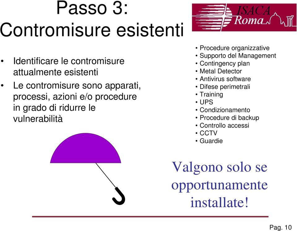 Supporto del Management Contingency plan Metal Detector Antivirus software Difese perimetrali Training UPS