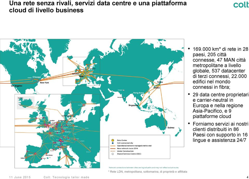 000 edifici nel mondo connessi in fibra; 29 data centre proprietari e carrier-neutral in Europa e nella regione Asia-Pacifico, e 9 piattaforme