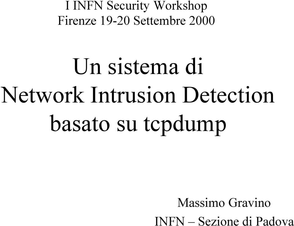 Network Intrusion Detection basato su