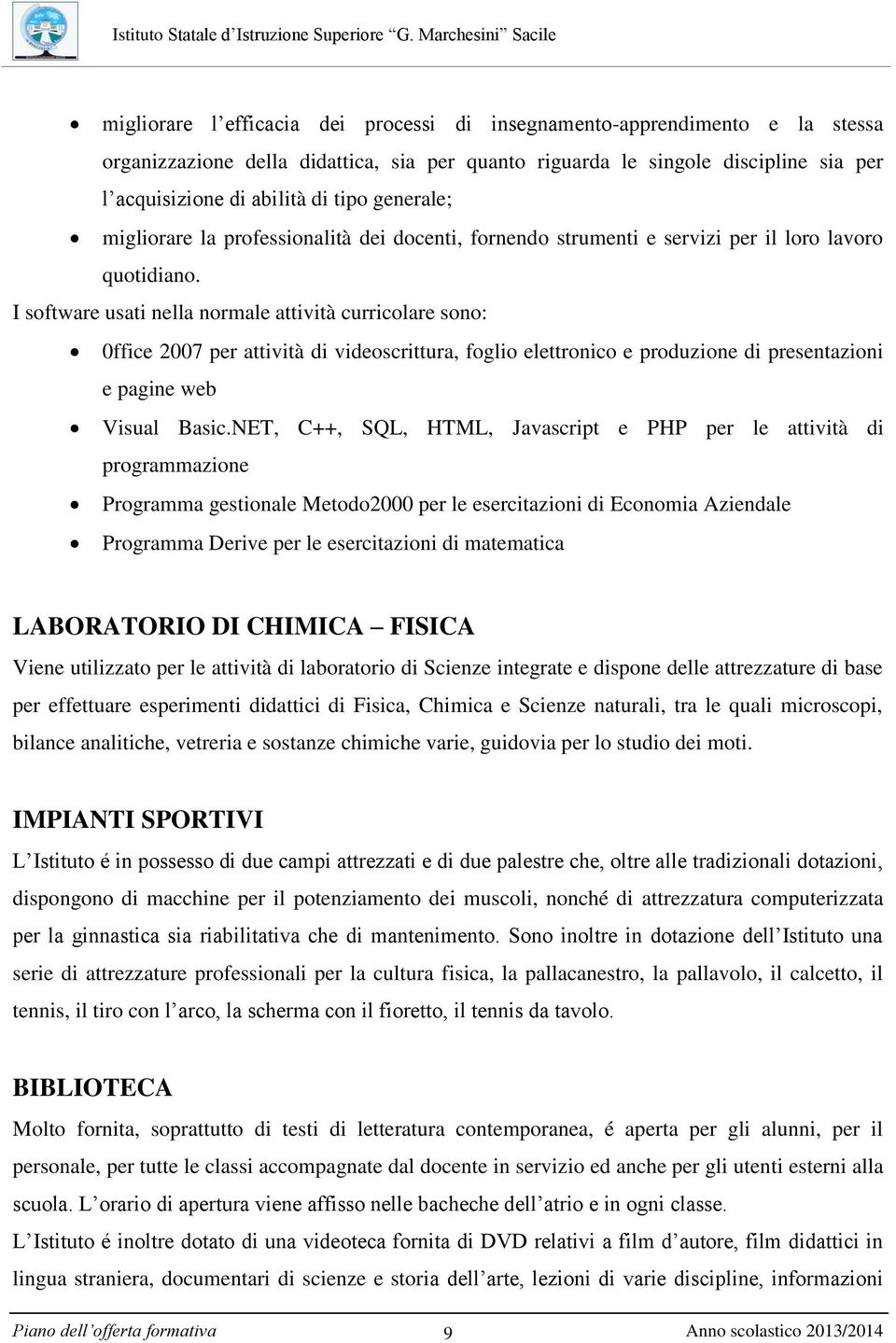 Piano dell offerta formativa pdf for Software di piano planimetrico