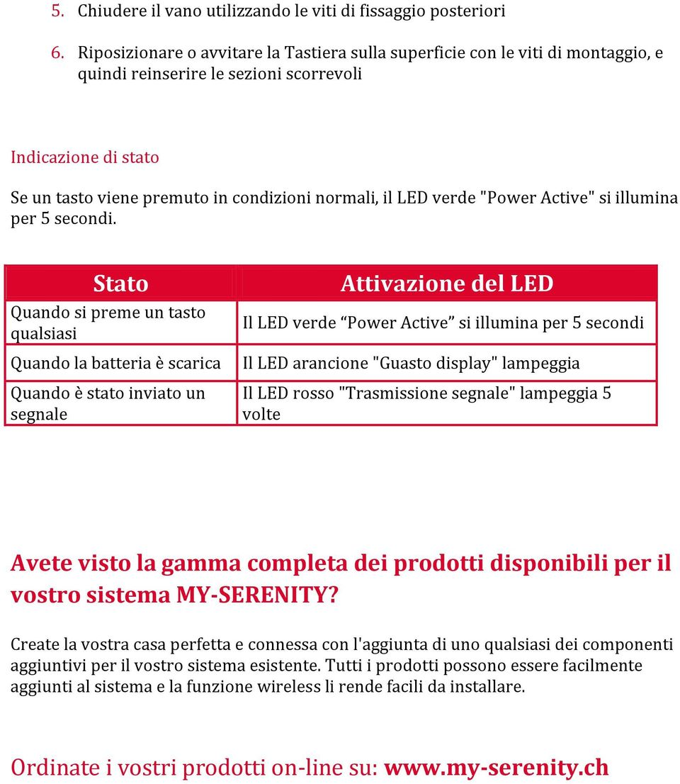 "verde ""Power Active"" si illumina per 5 secondi."