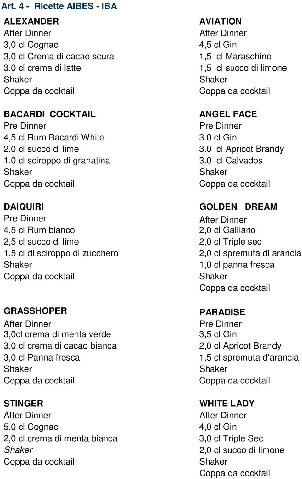 0 cl Calvados DAIQUIRI GOLDEN DREAM Pre Dinner 4,5 cl Rum bianco 2,0 cl Galliano 2,5 cl succo di lime 2,0 cl Triple sec 1,5 cl di sciroppo di zucchero 2,0 cl spremuta di arancia 1,0 cl panna fresca