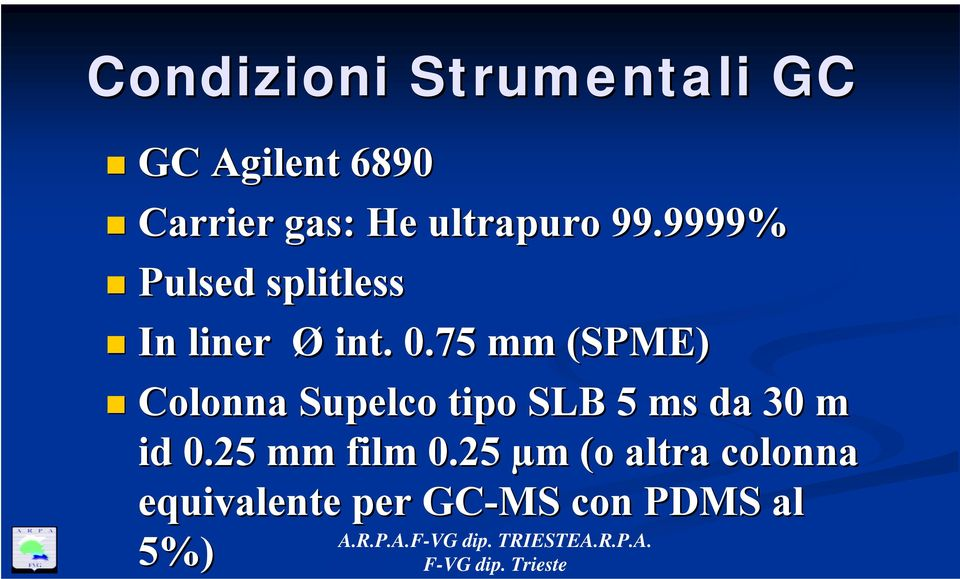 75 mm (SPME) Colonna Supelco tipo SLB 5 ms da 30 m id 0.