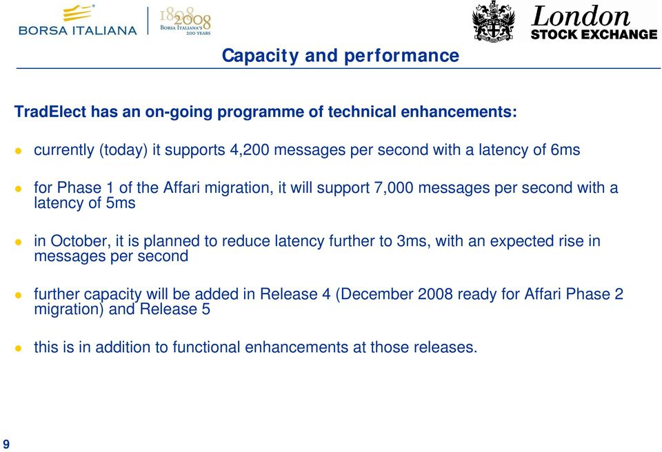October, it is planned to reduce latency further to 3ms, with an expected rise in messages per second further capacity will be added in